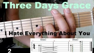 Three Days Grace - Hate Everything about you Урок на гитаре