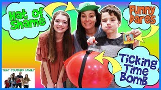 You're Busted!  Funny Surprise Balloon Popping Game - Family Game Night / That YouTub3 Family