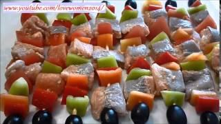 Как приготовить шашлык из красной рыбы.  Закуски из красной рыбы