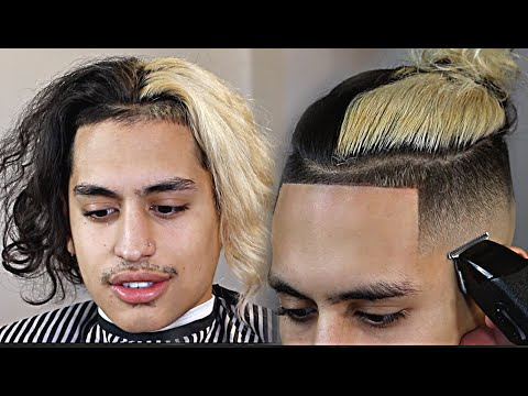 Crazy Half Black Half Blonde Man Bun Fade Hd Barber Tutorial