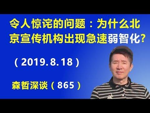 """令人惊诧的问题:为什么北京宣传机构出现急速的""""弱智化""""?(2019.8.18)"""