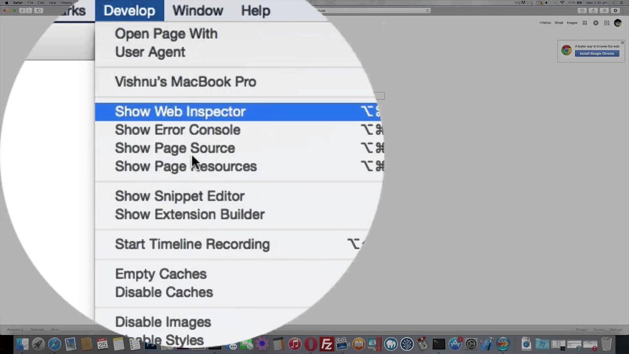 Enable Inspect Element on Safari