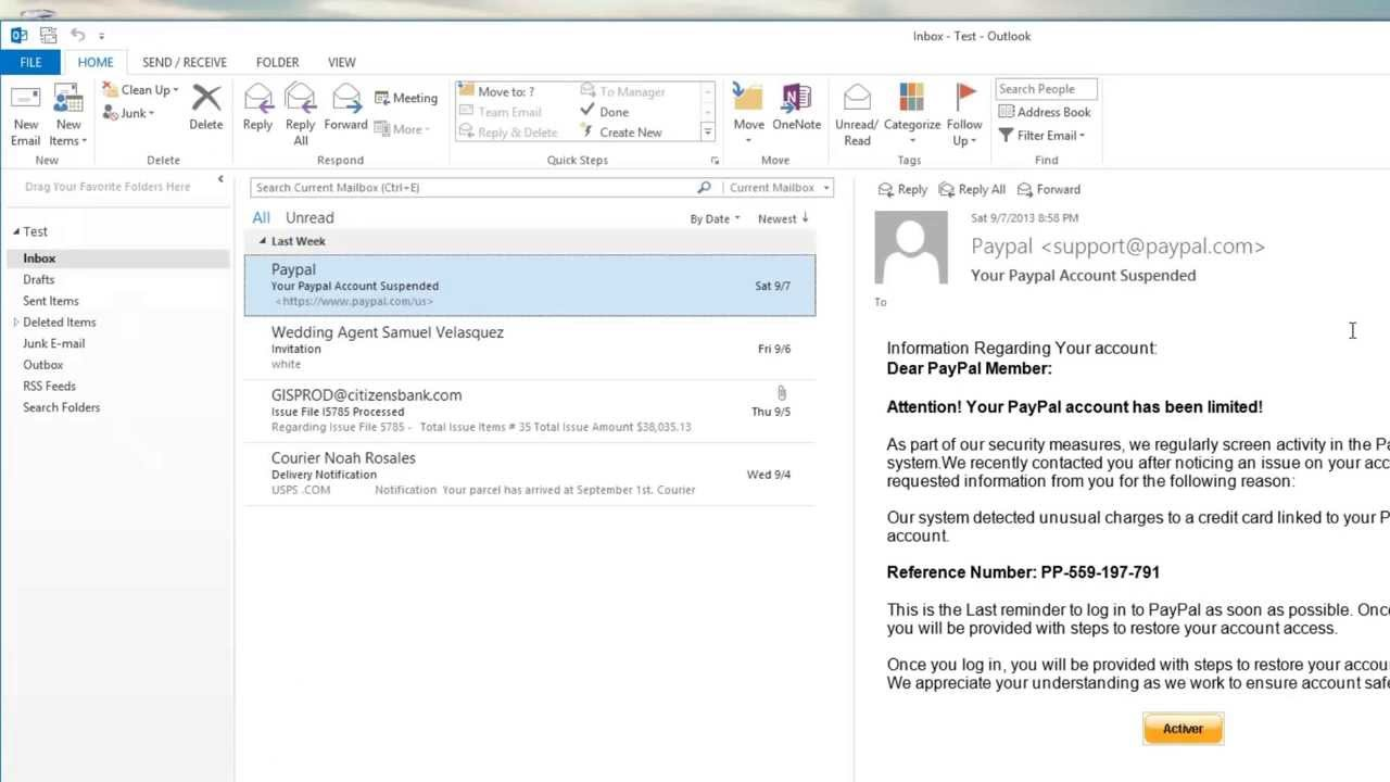 How To Spot A Fake Email Using Microsoft Outlook 2013 S Junk Mail Folder Youtube