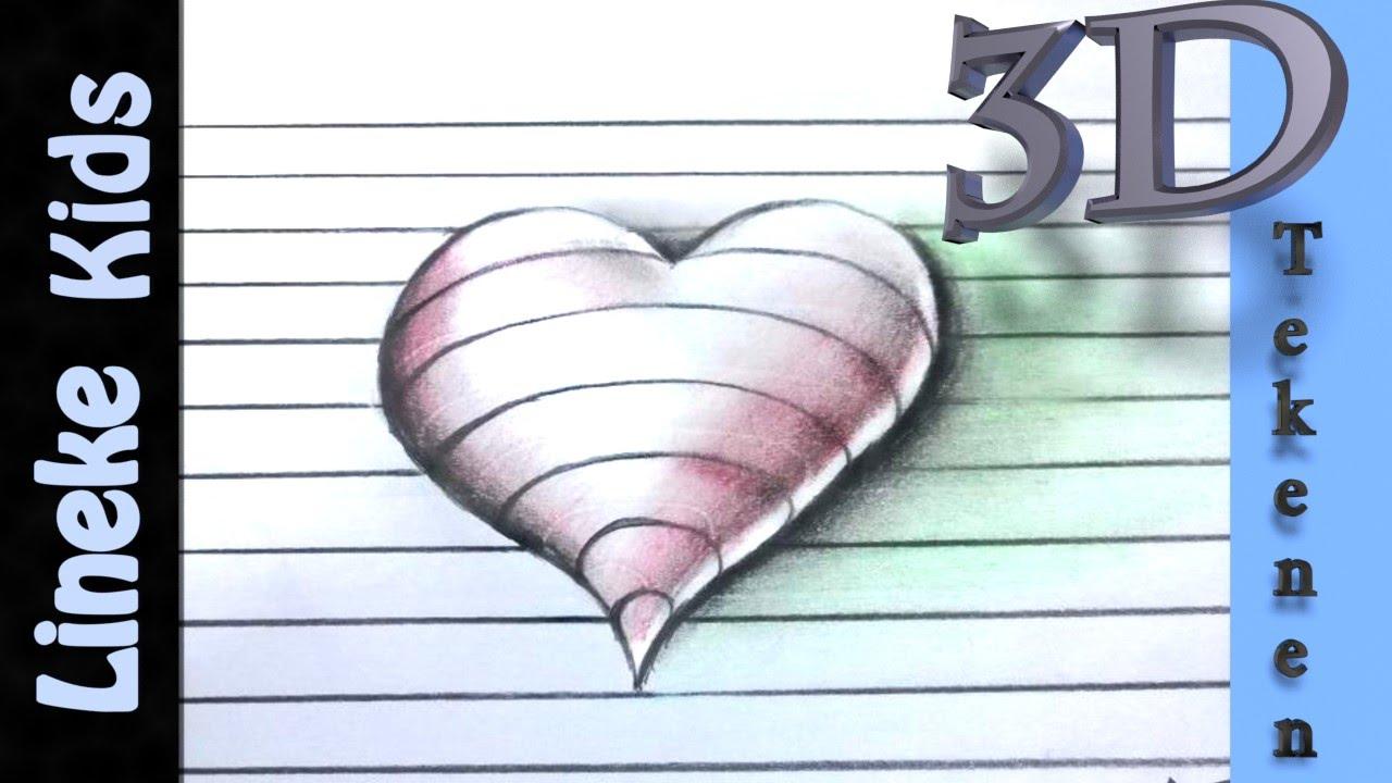 3d tekenen teken 3d hartje in stappen voor beginners for Tekenen in 3d