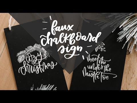 Hand Lettered DIY Faux Chalkboard Sign + Holiday SVG