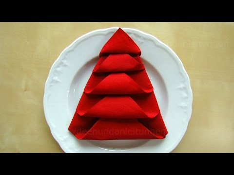 Servietten Falten: Weihnachten - Tanne - Tischdeko Weihnachten - Origami Mit Servietten - DIY