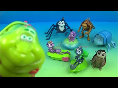 1998 DISNEY PIXAR A BUG'S LIFE SET OF 8 McDONALD'S HAPPY MEAL KIDS TOYS VIDEO REVIEW