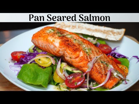 Pan seared salmon with cucumber tomato salad + Lemon dill vinaigrette | Delicious and light