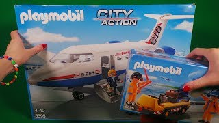 Playmobil Passenger Airplane Airport Luggage Truck Play set Toy Review UK UNBOXING