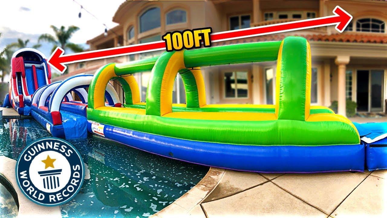 World Record Longest Backyard Slip N Slide Ever 100 Ft Youtube