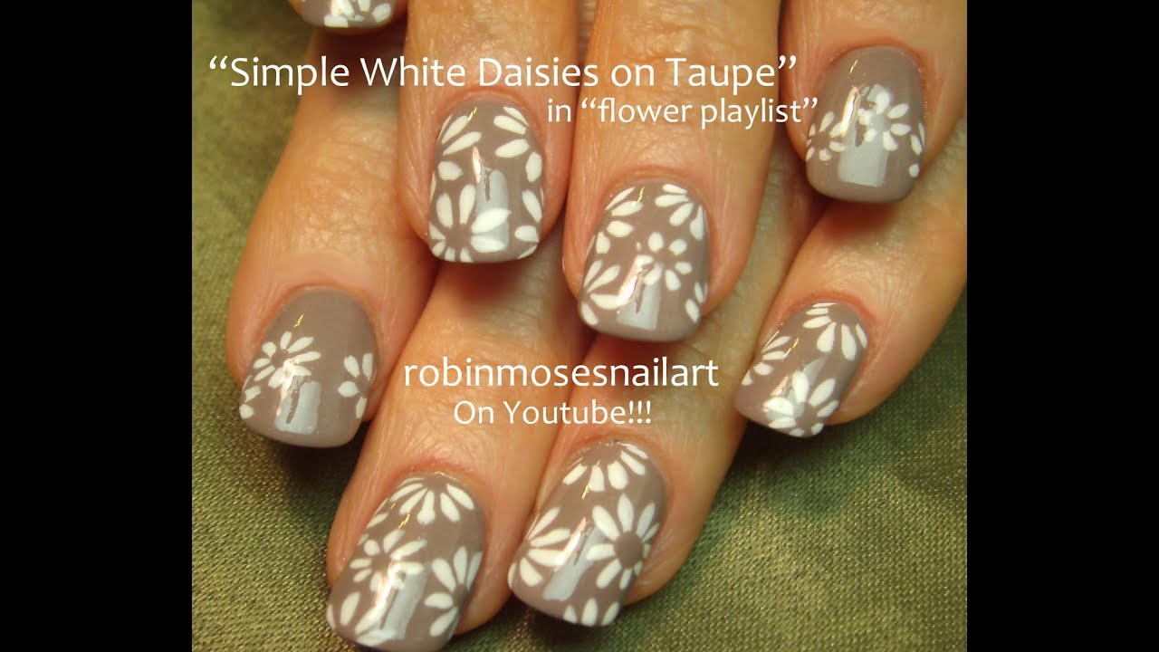 easy white daisy nails taupe
