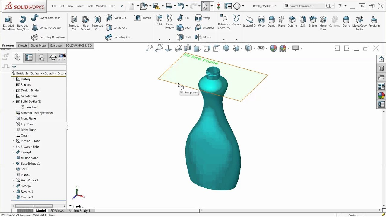 SOLIDWORKS Quick Tip - Measuring the Internal Volume of a Bottle