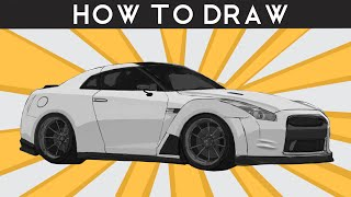 HOW TO DRAW a Nissan R35 GTR - Step by Step