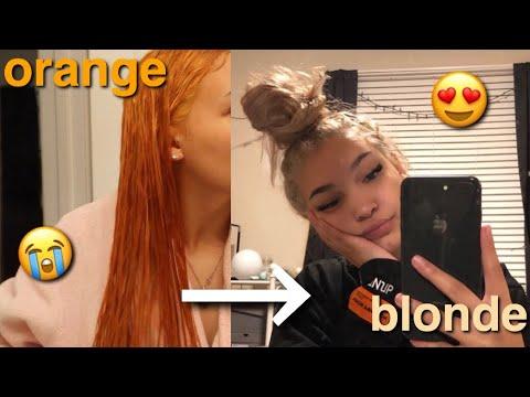 bleaching my hair | BLACK to BLONDE | Part 3