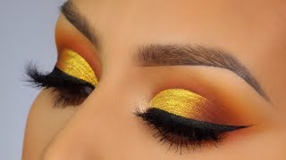 Jelly eyeshadow? Yellow cut crease makeup tutorial