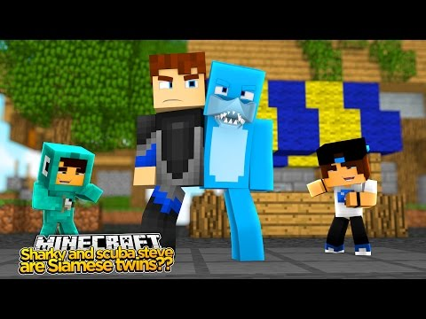 Minecraft - SHARKY AND SCUBA STEVE ARE STUCK TOGETHER??
