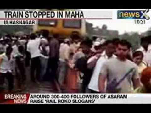 Asaram bapu scandal: Asaram's supporters stop train in Ulhasnagar, Maharashtra Travel Video