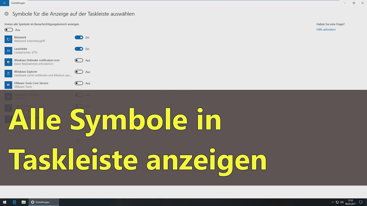 Windows 10] Alle Symbole in Taskleiste anzeigen - YouTube