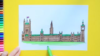 How to draw and color Palace of Westminster, London - Parliament of United Kingdom