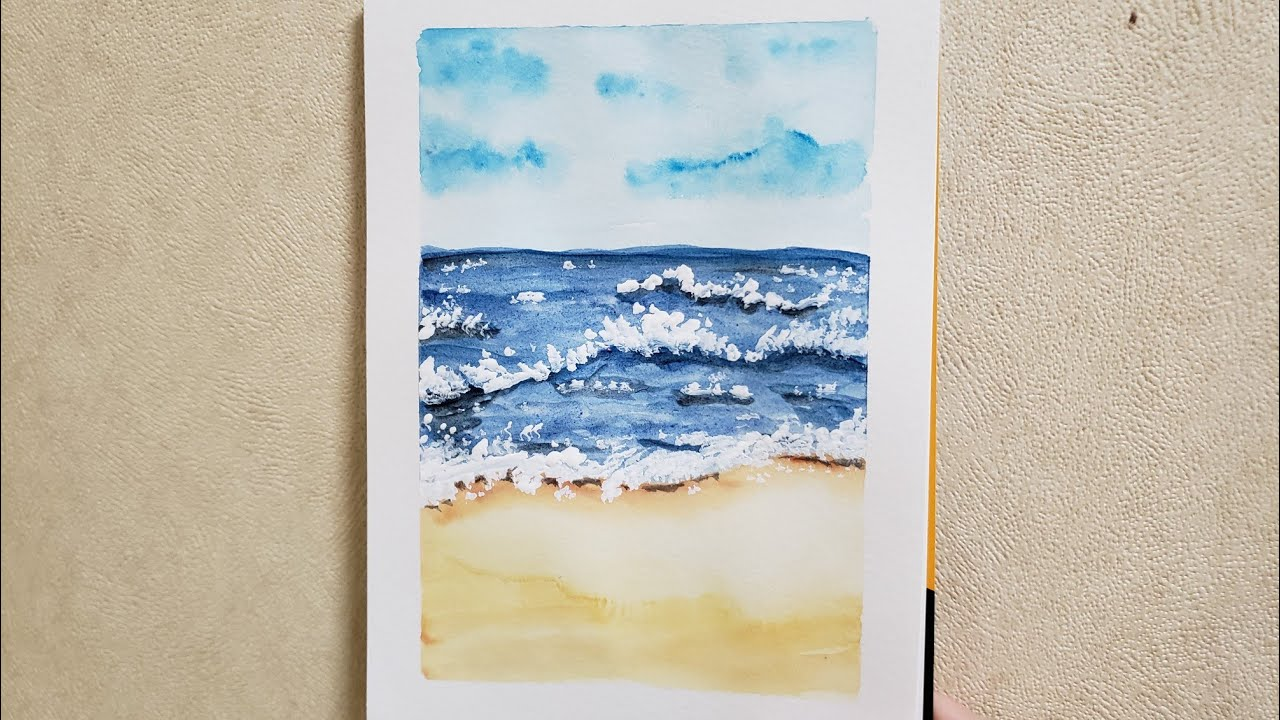How to draw sea, vẽ biển bằng màu nước đơn giản #art#vetranhmaunuoc#watercolor
