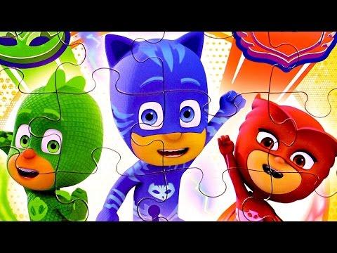 Набор  Герои в масках пазлы для малышей. Игрушки Пи Джей Маски #Кэтбой #Алетт #Гекко