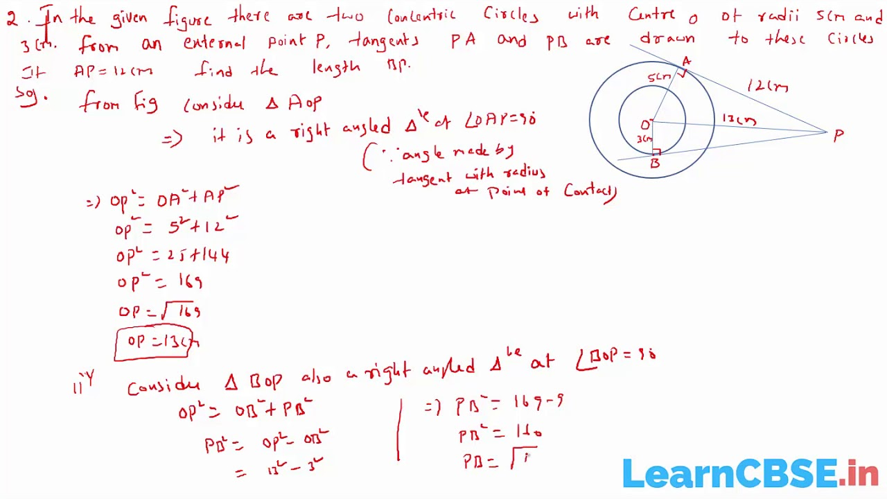Problems on Circles and Tangents | Circles - CBSE Class 10 Maths