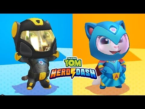 Talking Tom Hero Dash Android Gameplay - Super Tom VS Super Angela