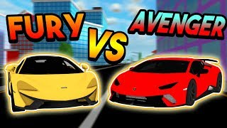 FURY VS AVENGER RACE! (*SPEED, TURNING, & TIME TESTS*) | ROBLOX: Mad City