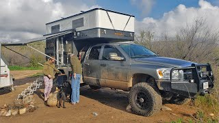 Nomad Veteran Couple living FULL TIME in Dodge FOUR WHEEL CAMPER HAWK Flat Bed - Walk Through