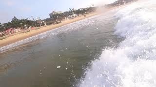 만리포 서핑, 파도를 타다.