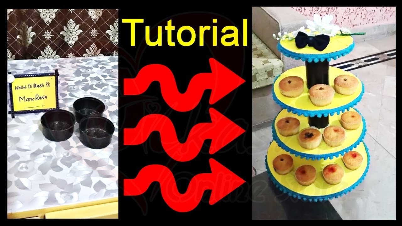 How to Make DIY Cupcake Stand Using Cardboard Tutorial ...