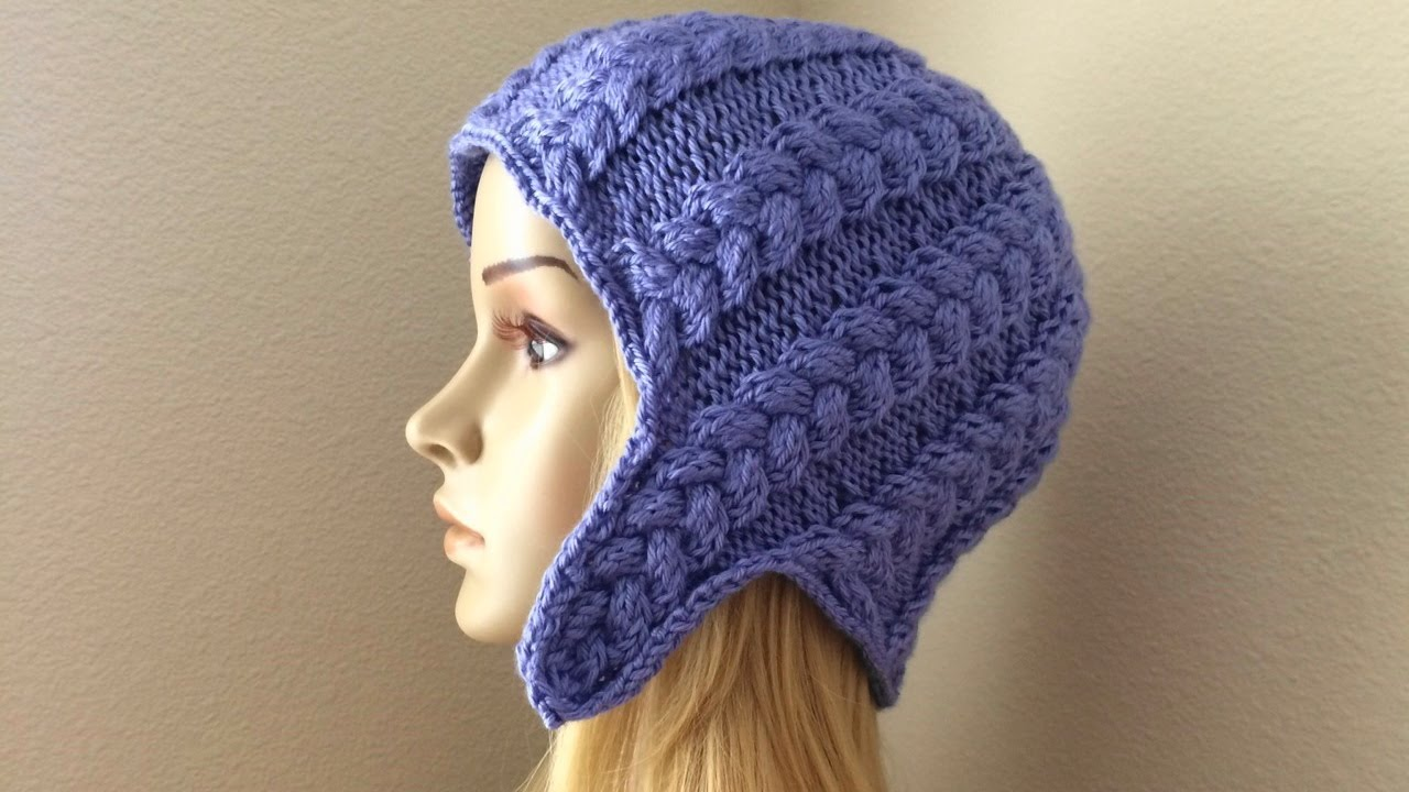 How To Knit A Braided Ear-flap Hat, Lilu\'s Handmade Corner Video ...