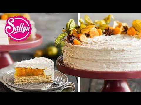 Baumkuchen-Torte mit Zimtcreme, Physalis & Sternanis
