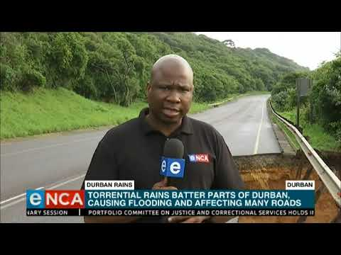 Torrential rains damage Durban roads and cause floods