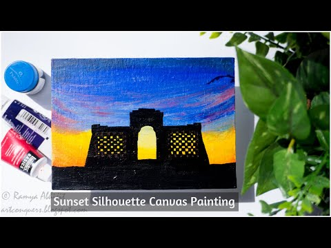 Sunset Canvas Painting Ideas|Sunset Silhouette Acrylic on canvas|Beach Sunset Painting Tutorial