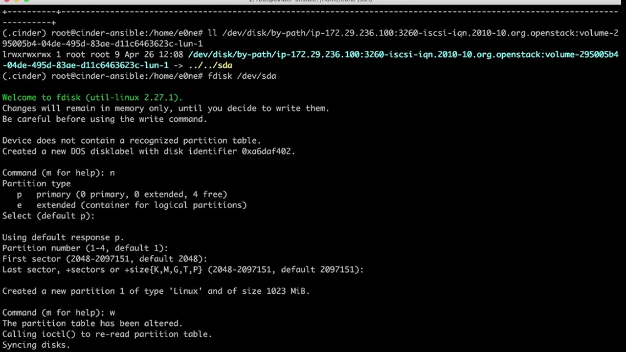 Cinder demo: OpenStack Ansible+LVM+Local attach