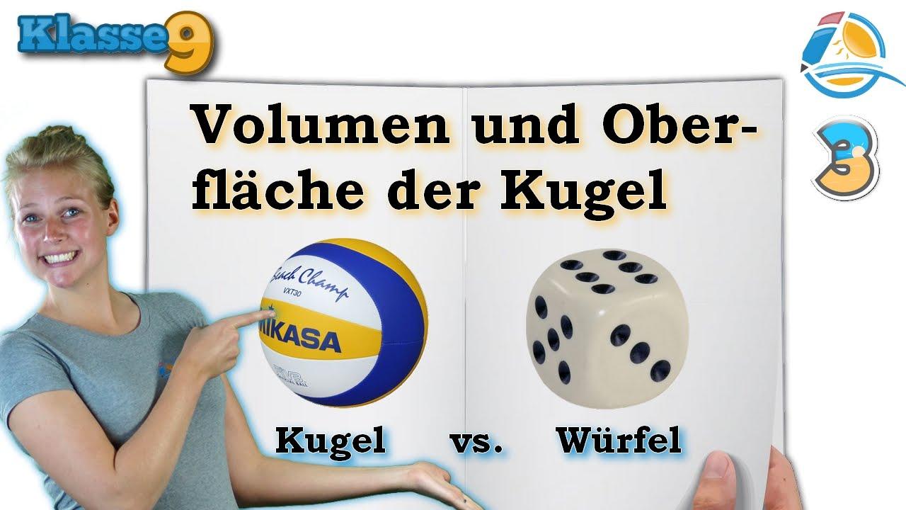 volumen und oberfläche kugel würfel || klasse 9 ★ Übung 3 - youtube