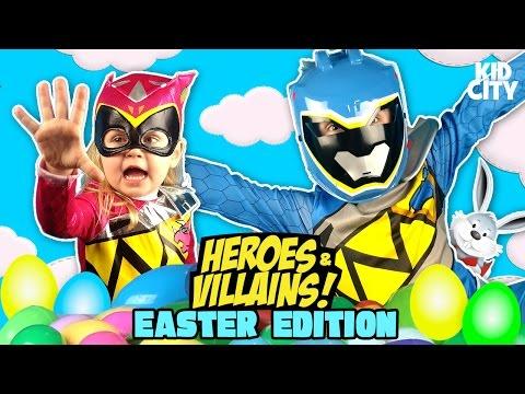 Easter Egg Hunt & Heroes & Villains Surprise Egg Challenge w/ Power Rangers, Batman & Justice League