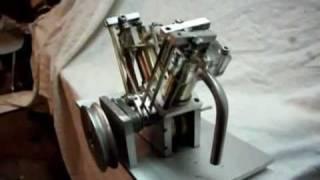Mini moteur bicylindre en V a 60°