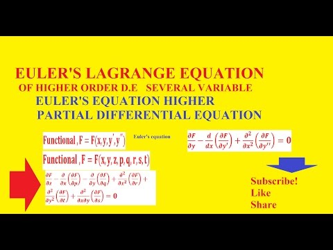 EULER'S LAGRANGE EQUATION OF HIGHER ORDERAND SEVERAL VARIABLE  - EULER'S EQUATION PDE