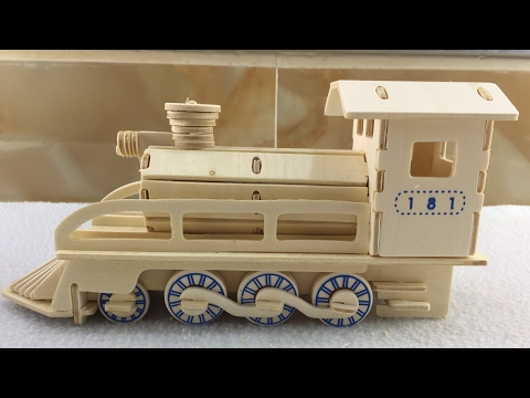 3D Wood Craft Construction Kit, How to make a wooden Train/Locomotive