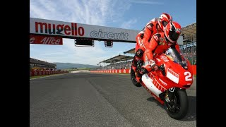 Michael Schumacher & Randy Mamola riding Ducati at Mugello