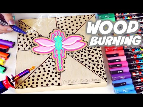 wood-burning-with-posca-paint-markers-//-drawing-on-wood