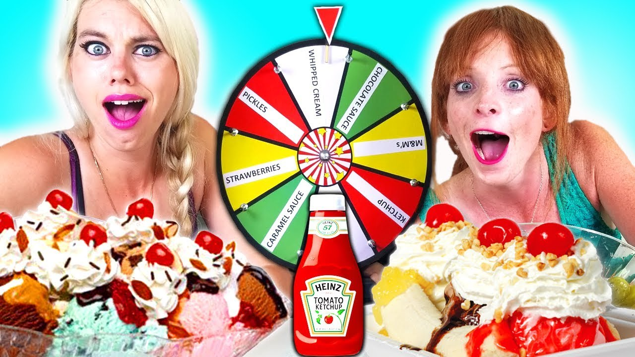 MYSTERY WHEEL of Ice Cream SUNDAE Challenge!!!