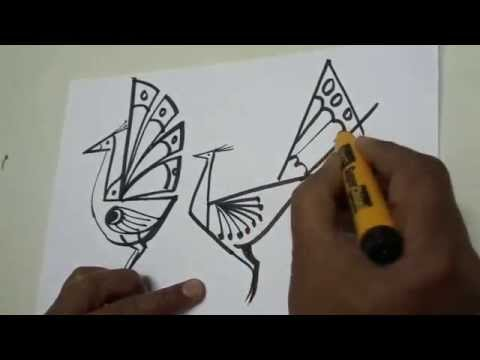 How To Draw A Peacock Step By Step Free Hand Sketches Youtube