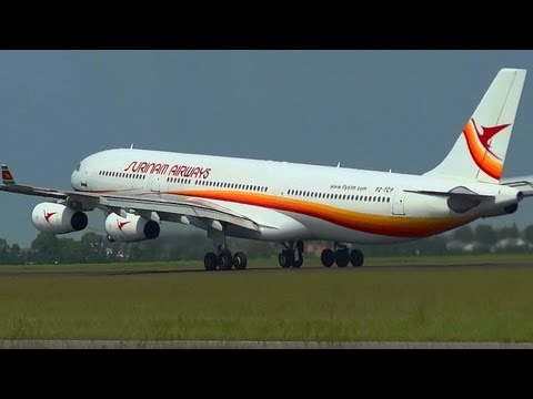 AIRBUS A340-311 Suriname Airways PZ-TCP takeoff Full-HD