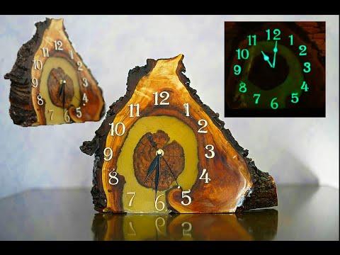 DIY glowing clock made of wood and epoxy resin. Светящиеся часы из дерева и смолы, своими руками.