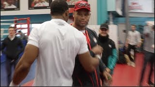 ANTHONY JOSHUA TRAINING HARD FOR PARKER GREETED BY GB TEAM MATE & SPARRING PARTNER BIG FRAZER CLARKE