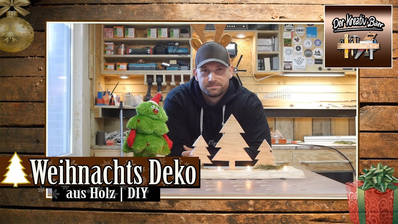 weihnachtsdeko holz diy youtube. Black Bedroom Furniture Sets. Home Design Ideas