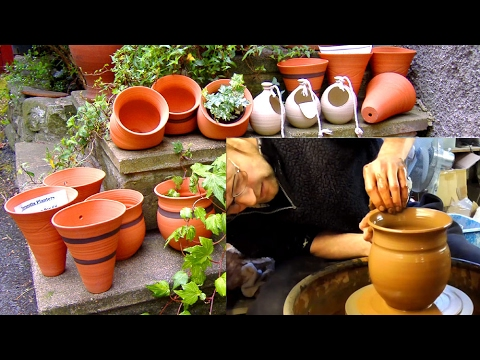 Throwing / Making 4 Different Shaped Red Clay Terracotta Pots on the Wheel